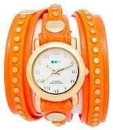 La Mer LMSW4001 Women's Bali Stud Pig Skin Leather Dial Orange Watch