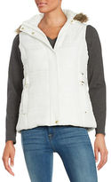 Weatherproof Faux Fur Trim Puffer Hooded Vest