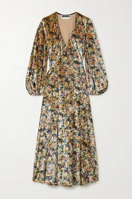Rotate by Birger Christensen Beatrix Floral-print Stretch-velvet Wrap Midi Dress - Blush