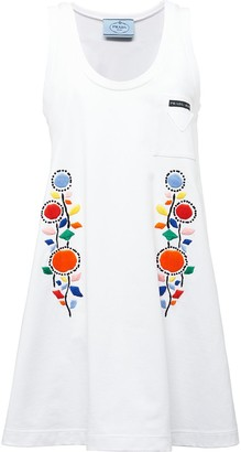 Prada Floral-Embroidered Mid-Length Dress