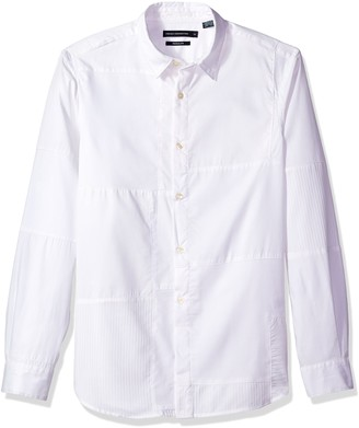 French Connection Men's Multi Dobby Patchwork Regular