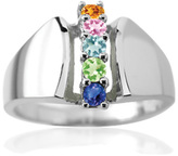 Zales Mother's Birthstone Open Shank Column Ring in Sterling Silver (3-6 Stones)