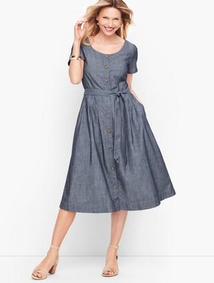 Talbots Denim Button Front Fit & Flare Dress