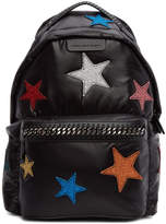 Stella McCartney Black Glitter Stars Falabella Backpack