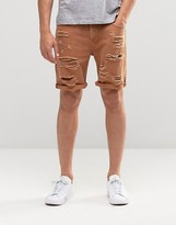 Asos Denim Shorts In Slim Fit With Extreme Rips In Rust