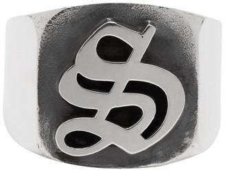 Stolen Girlfriends Club Silver Gothic Stamp Signet Ring