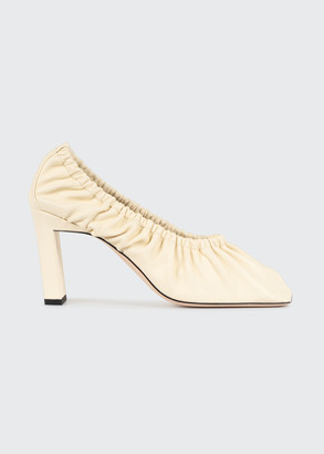 Wandler Mia Ruched Square-Toe Pumps