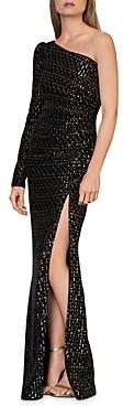 ML Monique Lhuillier One-Shoulder Sequin Velvet Gown