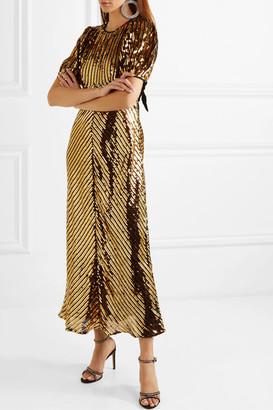 Rixo Daisy Velvet-trimmed Cutout Sequined Georgette Midi Dress - Bronze