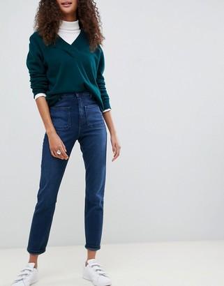ASOS DESIGN high rise farleigh 'slim' mom jeans in dark stonewash blue with patch pockets