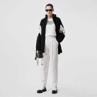 Burberry Detachable Hood Two-tone Wool Cashmere Cardigan