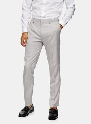 Topman Grey Slim Fit Wide Leg Suit Trousers