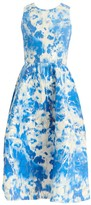 Carolina Herrera Tie-Dye Metallic Stretch-Silk A-Line Dress