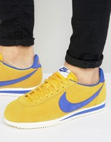 Nike Cortez Leather Sneakers In Yellow 861535-700