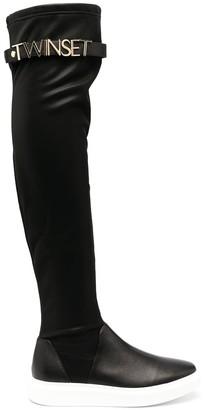 Twin-Set Flatform Knee-Length Sock Boots