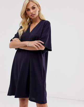 French Connection Frith wrap over shift dress-Navy