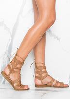 Missy Empire Juno Camel Suede Lace Up Flat Gladiator Sandals