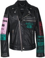 Diesel multi-patches biker jacket