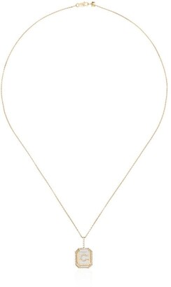 Mateo 14kt gold diamond C initial necklace
