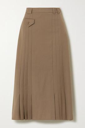 ENVELOPE1976 Christiania Pleated Wool Midi Skirt - Tan
