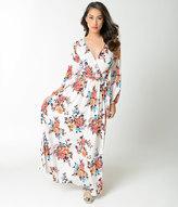 Unique Vintage 1970s Style Ivory & Floral Bouquet Long Sleeve Maxi Dress