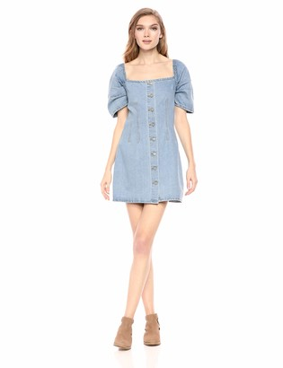 C/Meo Women's for The Story Puff Sleeve Short Denim Dress