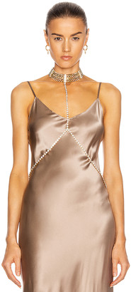 Alessandra Rich Gold Crystal Body Chain in Gold | FWRD