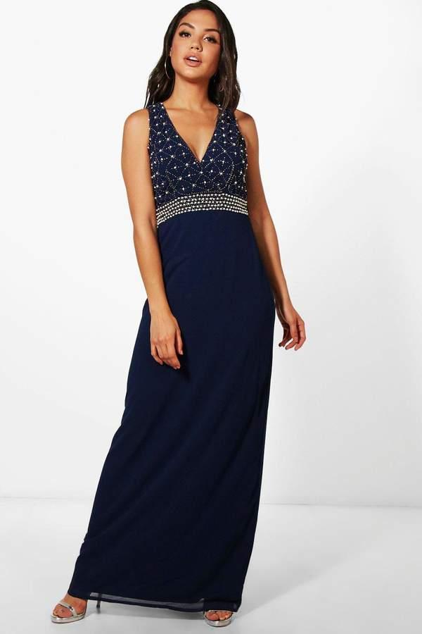 boohoo Boutique Pearl Embellished Maxi Dress