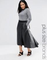Elvi Dip Hem Leather Look Midi Skirt