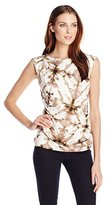 Calvin Klein Women's Printed Top with Buttons