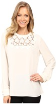 Vince Camuto Long Sleeve Blouse with Embroidered Lace Yoke