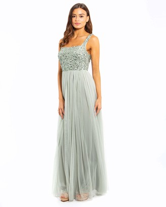Maya Deluxe Women's Maya Green Lily Strappy Delicate Sequin Maxi Dress Bridesmaid 12