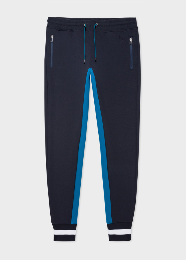 Paul Smith Men's Navy Track Pants With Stripe Cuffs