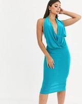 Asos Design DESIGN cowl neck drape halter bodycon midi dress