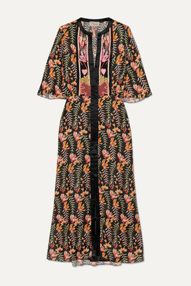 Temperley London Rosy Embroidered Floral-print Crepe De Chine Midi Dress - Black