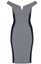 Quiz Navy And White Stripe Bardot Panel Dress