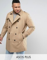 Asos PLUS Double Breasted Trench Coat With Shower Resistance in Stone
