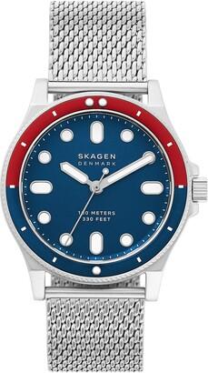 Skagen Men's Fisk 3-Hand Silver-Tone Steel-Mesh Watch, 42mm