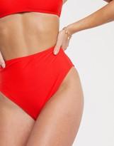 New Look high leg high waisted bikini bottoms in red