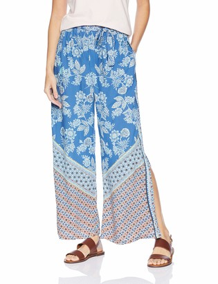 Angie Women's Printed Side Slit Pant with Tie Waist
