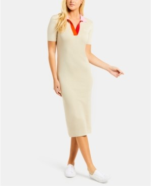 Lacoste Colorblocked Bodycon Sweater Dress