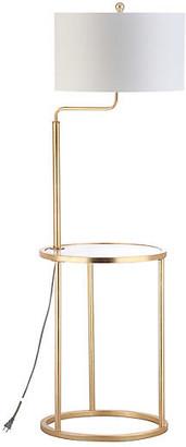 One Kings Lane Elsie Side Table Floor Lamp - Gold Leaf