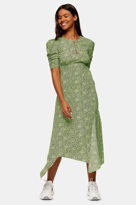 Topshop Lime Green Animal Print Ruched Sleeve Midi Dress
