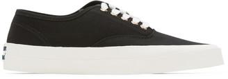 MAISON KITSUNÉ Black Canvas Laced Sneakers