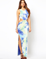 Oh My Love Tie Dye Maxi Dress with Cut Out