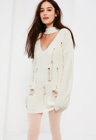 Missguided White Choker Neck Distressed Sweater