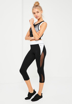 Missguided Active White Contrast Cropped Sports Leggings