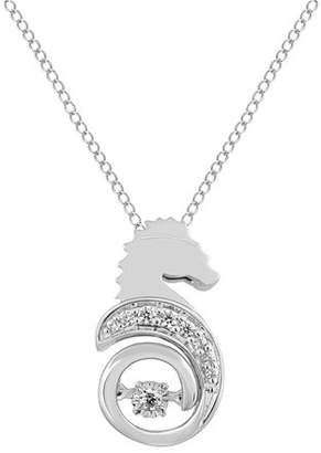 Enchanted Disney Fine Jewelry Womens Diamond Accent Genuine White Diamond Sterling Silver The Little Mermaid Pendant Necklace Family