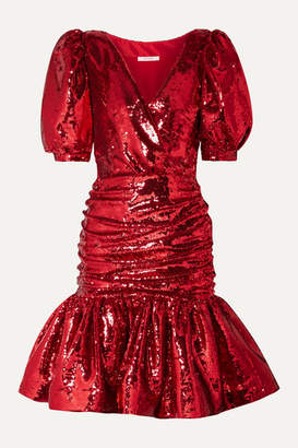 Rodarte Ruched Sequined Crepe Mini Dress - Red