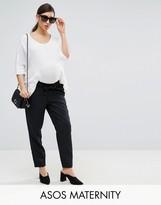Asos Trouser In Pin Stripe With Paperbag Waist